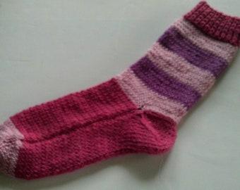 Hand Knit Alpaca Wool Socks Women,s Large 8-10 Rose Garden