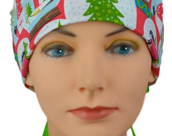 Scrub Hats // Scrub Caps // Scrub Hats for Women // The Hat Cottage // Christmas // The Mini // Ribbon Ties // Snow Globes