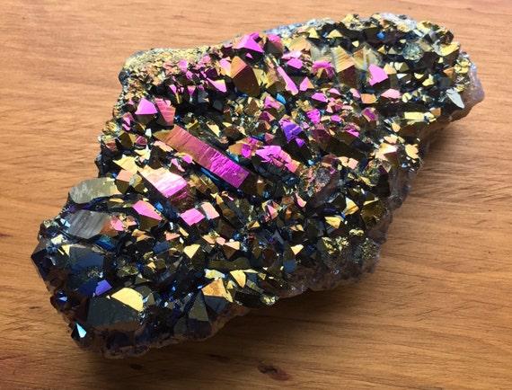 Titanium Aura Quartz Amethyst Cluster 610g, Rainbow Titanium Aura Quartz Slab, Aura Amethyst Cluster, Amethyst Cluster, Rainbow Aura Point