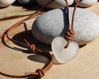 white sea glass pendant heart sea glass beach jewellery ocean pendant sea glass necklace sea foam pendant white sea glass heart