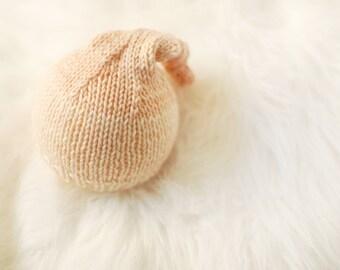 Ready to Ship Newborn Sleeper Hat | Knit Newborn Hat | Newborn Photography Prop | Knotted Sleeper Hat | Peach Newborn Hat | Peach Photo Prop