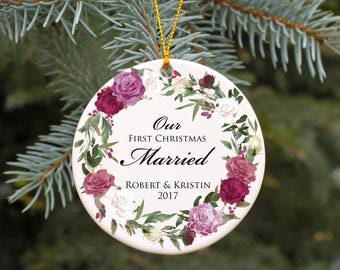 Our First Christmas Married Ornament Personalized Wedding Keepsake Wedding Gift Idea for the Couple Wedding Christmas Ornament Rose Wreath