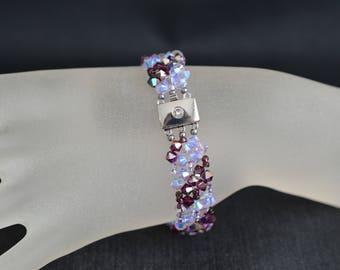 Bracelet Swarovski crystal fuchsia electra and purple ab2x - purple and electric fuchsia