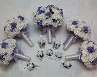Artificial foam and silk wedding flower bouquet set