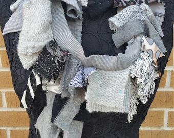 Repurposed Gray Bits & Pieces Sweater Piece Mosaic Scarf