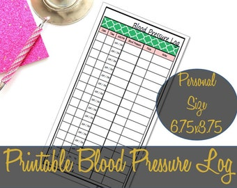 Blood Pressure Log Personal Size Printable Insert 6.75x3.75, Medical Log, Webster's Pages, Recollections Insert, Spade  - INSTANT DOWNLOAD