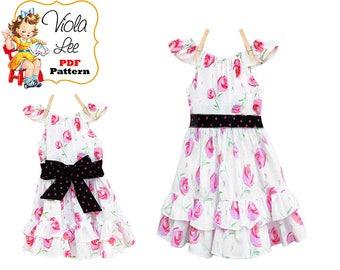 Girls Flutter Sleeve Peasant Dress Pattern. Toddler Sewing Pattern. Girls Dress Sewing Pattern. Ruffle Peasant Dress pdf pattern. Kristy