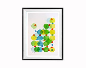 Geometric, Abstract, Modern  Bubbles, Mid Century Modern Art, painting, Bold bright colors, Spheres, spherical, Watercolor Painting,Colorful