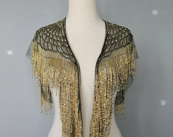 Beaded Capelet / Vtg 90s / Art Deco Style Opulent Beaded Capelet or Shawl