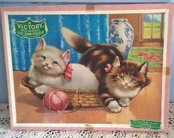 Vintage Victory Children's Jig Saw Animal Series Kittens