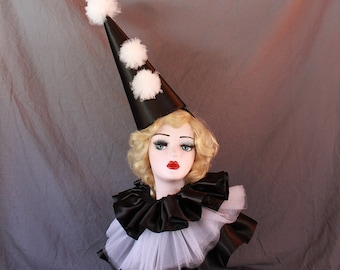 Black Clown Hat with Collar and Cuffs, High Fashion, Halloween Costume, Vintage Clown, Burning Man, Circus Costume, Tulle Pom Poms