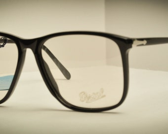 RARE Vintage Persol Ratti 09175 Rectangle Square 54 and 55 mm Black Plastc Eyeglasses 1980s Italy NOS