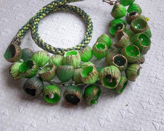 Dainty jewelery, unusual necklaces, inspirational gifts from polymer clay, mothers day from daughter, long boho necklaces with green buds.