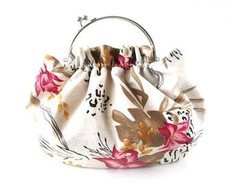 Pink flower on beige frame handbag, frame clasp purse, removable silver bag frame, pink flower cotton fabric frame bag, ruffled bag