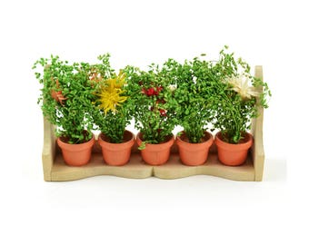 "Flower Box with Wild Flowers - 3.25"" x 1"" - Miniature Fairy Garden Dollhouse"