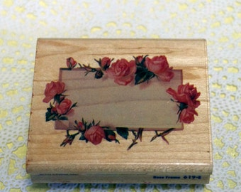 Rubber Stampede  Wood Mounted Rubber Stamp Rose Border