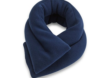"Microwave Neck Heating Pad (5""x26""),  Navy Blue Fleece, Neck Shoulder Heat Wrap, Neck Pain Relief Moist Heat Pack Bean Bag Reusable Portable"