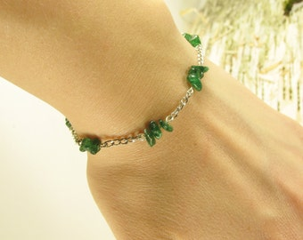 Aventurine Silver-Colored In-Lime Chain Bracelet