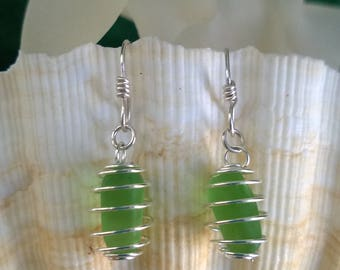"Green Apple --- Authentic sea glass, genuine sea glass, ocean ""gum drops"""