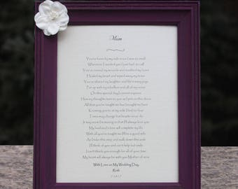 Custom Wedding Poem Gift to Mom on Wedding Day - Best Selling Items - Mother of the Bride Gift to Mom from Daughter - Mom Wedding Day Gift
