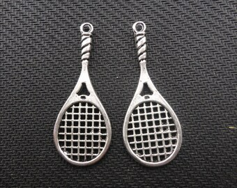 20 pcs of Antique Silver Tennis Rackets Charms 19mmx48mm