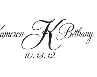 Monogram Rubber Stamp with names and initial with wedding date --5647