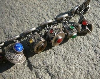 Peruzzi Style Bracelet,Etruscan Bracelet,Vintage Italian Charms,Silver Charm Bracelet,Peruzzi Jewelry,Etruscan Jewelry,Italian 800 Jewelry