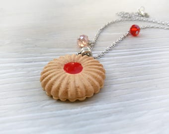 Cookie necklace Food jewelry Cookie Charm necklace Biscuit jewelry Gift for Her Xmas gift for sister Cute Pastry necklace