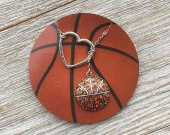 SALE - Basketball Lariat Necklace with Rhinestones & Heart Pendant, handmade jewelry