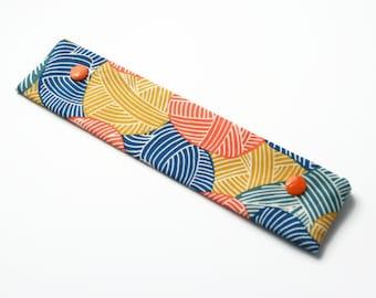 DPN Holder, DPN Cosy, Knitter Gift, 8 Inch Double Pointed Needle Case, Knitting Needle Case, Sock Knitting - Blue and Orange Yarn
