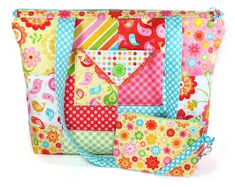 Quilted Zipper Tote Bag Patchwork Large Pink Red Turquoise Yellow Flowers Birds