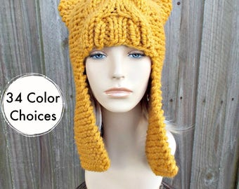 Yellow Mustard Womens Hat - Dragon Slayer Mustard Ear Flap Hat Mustard Knit Hat - Mustard Hat Mustard Beanie - 34 Color Choices
