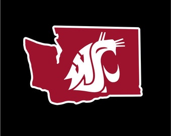 WSU Cougars Car Window Sticker (Crimson)