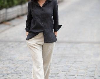 Linen Black Blouse,Linen Top,Linen Plus Size Blouse,Plus Size Top,Women Linen Short,Linen Maxi Top,Linen Wrap Top, Summer Blouse,Women Gift