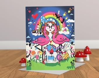 Alice Rainbowland carte - Alice au pays des merveilles - carte pour elle - Licorne carte - Flamingo