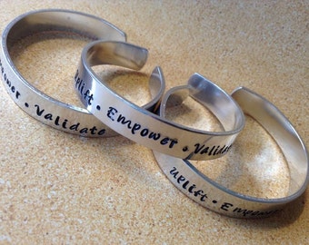 Uplift Empower Validate, Thin cuff bracelet, personalized and hand stamped