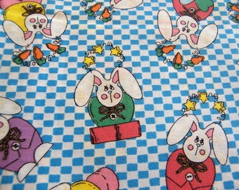 Fabric  Cotton Rabbit, Easter, Turquoise