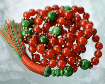 Christmas Mala Prayer Beads 108 Knotted Mala Necklace, Japa Beads, Red Carnelian and Green Jade for Energetic happy mind, Manifestation