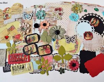 Prima Cigar Box Secrets Scrapbooking Paper and Embellishment Kit, Masculine embellishment kit, Scrapbook kit, Inspiration kit, Vintage kit