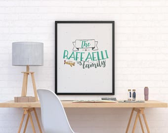 Family poster, family, family portrait, illustration and typography poster