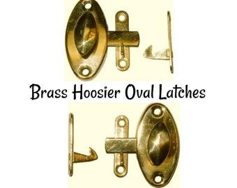 Brass Latch - Stamped Brass Hoosier Oval Style Latch - Hoosier Cabinet