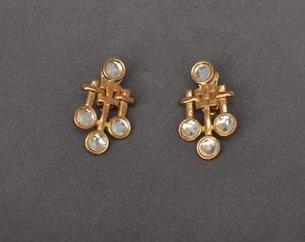Vintage ART NOUVEAU Earrings Gold  Rhinestone Clip