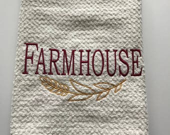 Farmhouse Hand Towel Red Embroidered Cotton