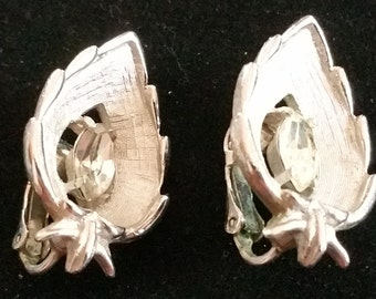 """Sarah Coventry """"Crystal Navette"""" Silver-tone Metal and Rhinestone Clip-on Earrings, 1960s"""