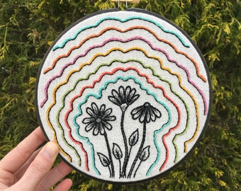 """Flower Embroidery Art, 7"""" hoop - hand stitched, black daisies sketch, color outlines"""