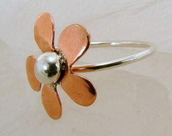 Copper and Sterling Silver Ring - Any Size - Made to order