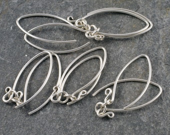 handmade sterling silver earwires - mini- v (wishbone) shape - five pairs