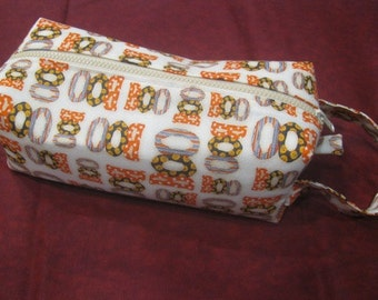 Boo Halloween with surprise embroidery inside - Cosmetic Bag Makeup Bag LARGE