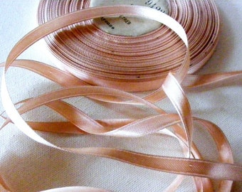 Vintage 1930's-1940's French Double Face Satin 5/16 inch Gorgeous Peachy Pink