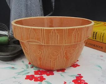 "Primitive Antique Pumpkin Glazed Yellowware Mixing Bowl with Moon & Stars ~ Watt Pottery 7"" Stoneware Farmhouse Decor"